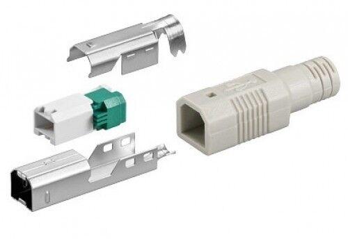 USB 2.0 B-STECKER+TUELLE WERKZEUGFREIE CRIMP-MONTAGE NEU