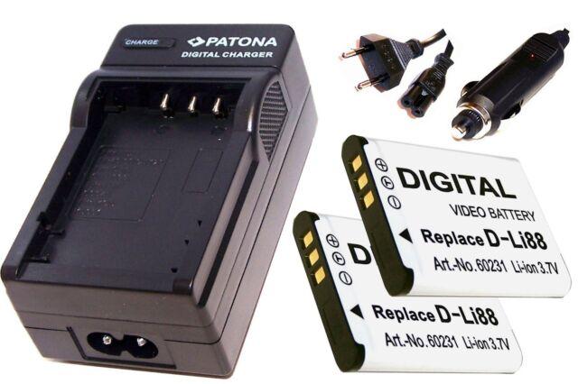 Ladegerät  und 2 * Akku Batterie Accu im SET für Pentax Optio WS80 / D-Li88
