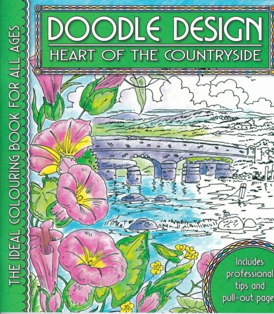 DOODLE DESIGN HEART OF THE COUNTRYSIDE BRAND NEW ADULT COLOURING BOOK GREEN