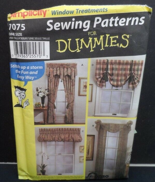 Simplicity 7075 Sewing Pattern For Dummies Window Treatments Uncut