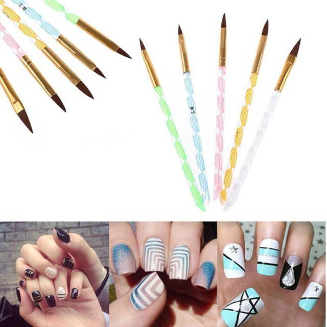 5pcs Acrylic 3d Painting Drawing UV GEL DIY Brush Pen Tool Nail Art ...