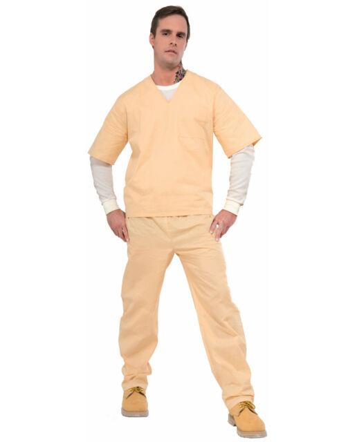 Beige Prisoner Scrubs Tan Convict Uniform Inmate Two Piece Costume  sc 1 st  eBay & Orange Is Black - Beige Prisoner Suit Costume Adult Standard | eBay