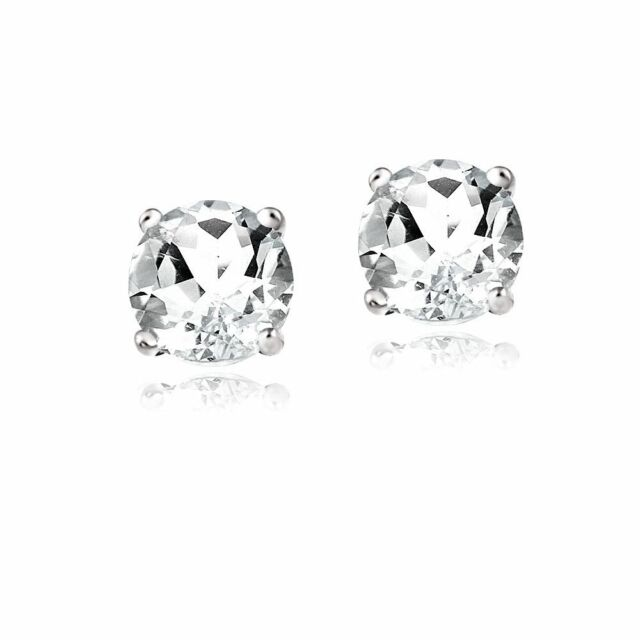 2ct White Zircon 925 Sterling Silver Stud Earrings 8mm