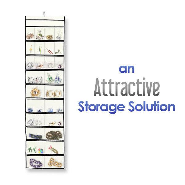Stylishly Stored 52 Pocket Hanging Canvas Jewelry Organizer eBay