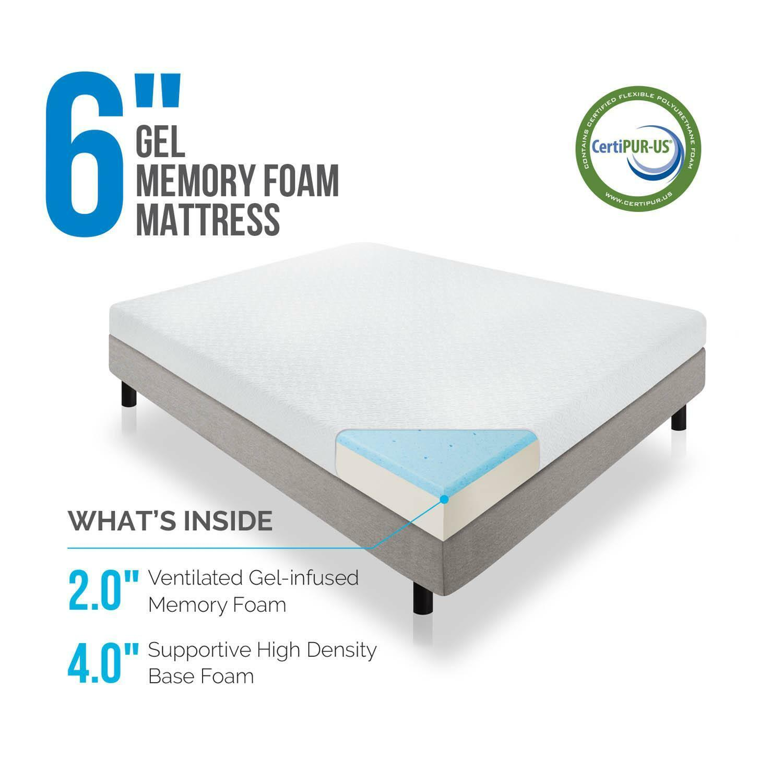 "Lucid 6"" Dual Layered Memory Foam Mattress Multiple Sizes"