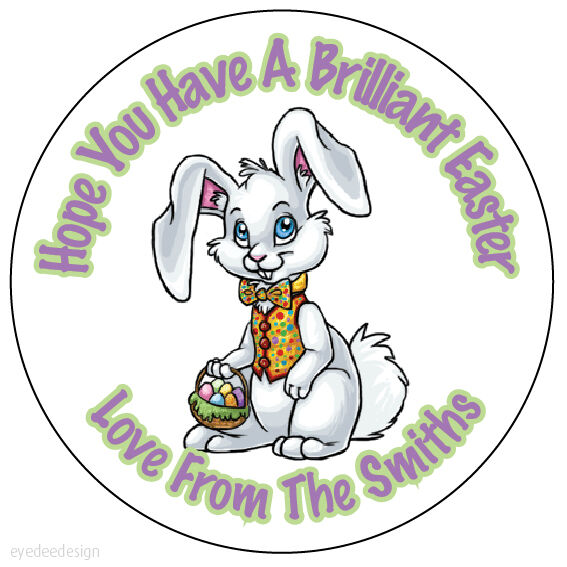 Personalised easter bunny egg 37mm birthday stickers party thank you seals 170