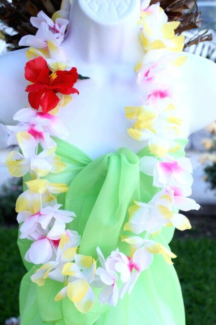 Six hawaiian silk flower lei luau party hula necklace yellow white six hawaiian silk flower lei luau party hula necklace yellow white qty 6 leis mightylinksfo Image collections
