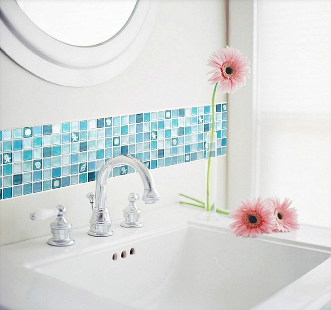 Beaustile mosaic 3d wall stickers 4 sheets home decor blue art picture 1 of 6 amipublicfo Image collections