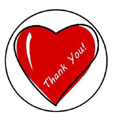 48 thank you heart envelope seals labels stickers 1 2 round ebay