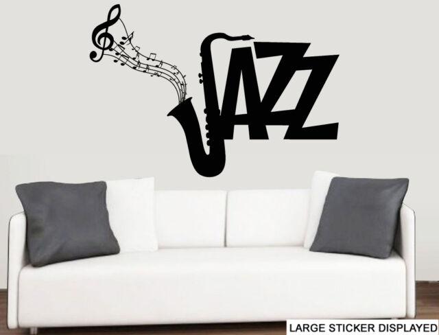 Jazz Saxophone Flowing Music Notes Wall Art Vinyl Stickers Brass ...