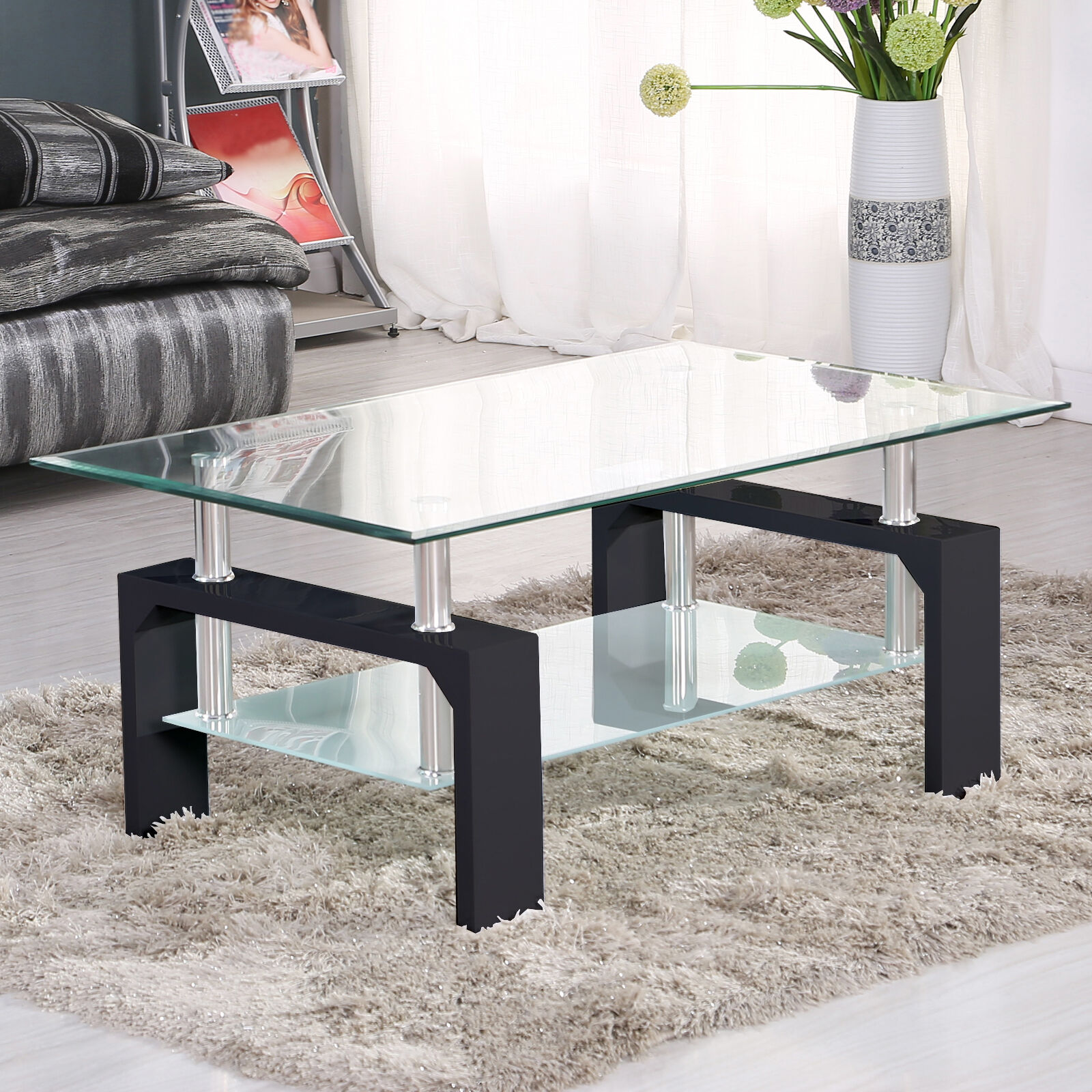 DESIGNER Glass Rectangular Coffee Table Shelf Chrome Wood Living