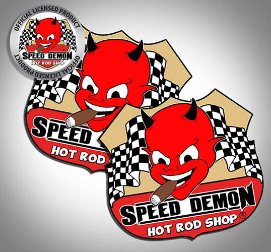 2 speed demon hot rod shop vintage style cute devil route 66 3 decal stickers