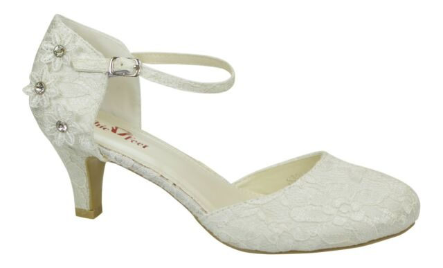 IVORY SATIN LACE LOW HEEL CORSAGE MARY JANE BRIDAL WEDDING SHOES SIZE 3
