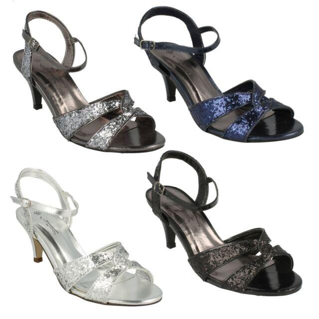 Ladies Anne Michelle Punta Aperta Sandali Glitter con Cinturino alla Caviglia 3 Tacco f10159
