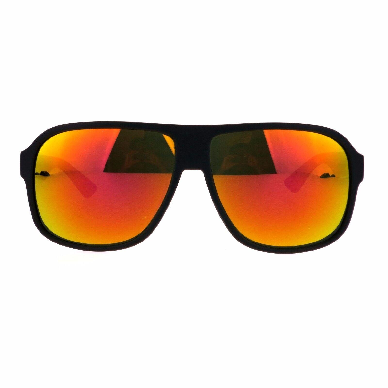 Mens Color Mirror Lens Aviator Racer Sport Plastic Sunglasses Black ...