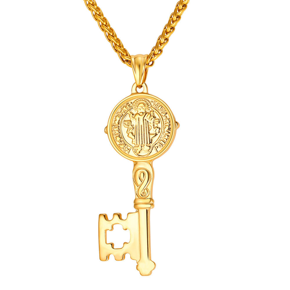 U7 Key Pendant Stainless Steel Necklace Saint Benedict Medal ...