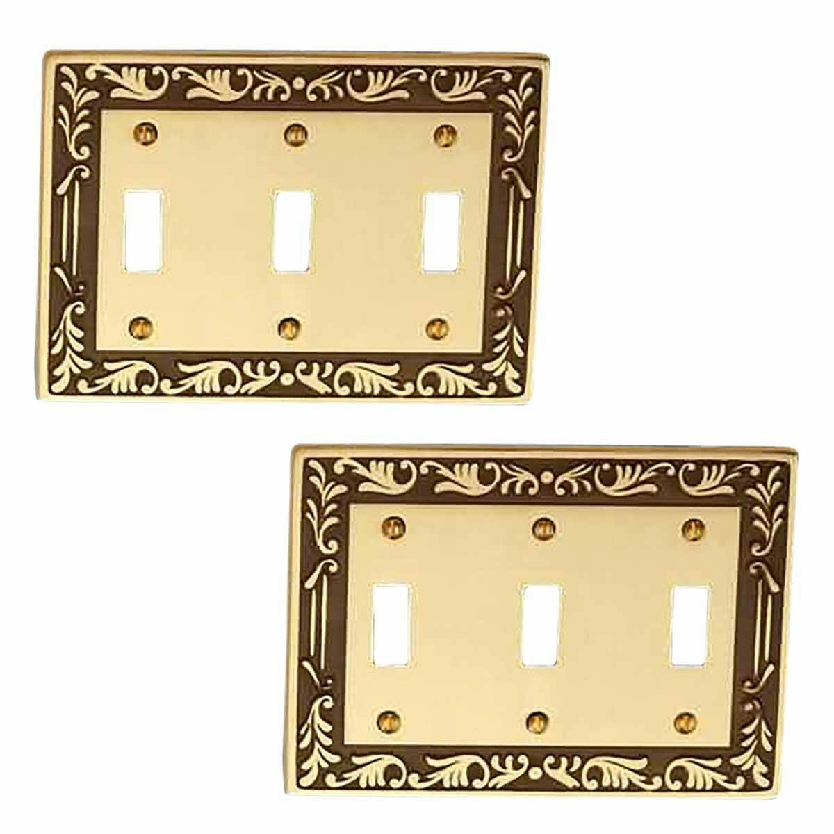 2 Victorian Switch Plate Triple Toggle Antique Solid Brass | eBay