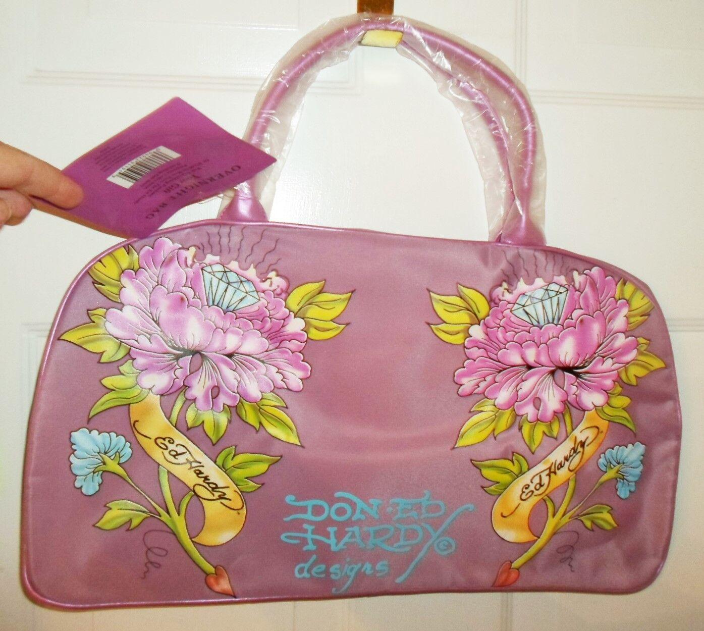 Ed Hardy Handbag Purple Flower Design By Christian Audigier