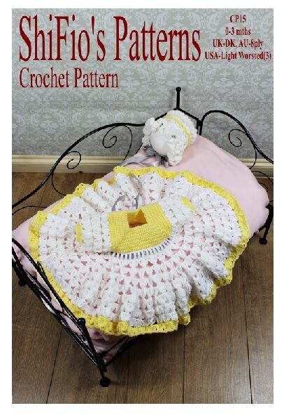CROCHET PATTERN for FRILLY GIRLS BABY DRESS & HAT #15 NOT CLOTHES