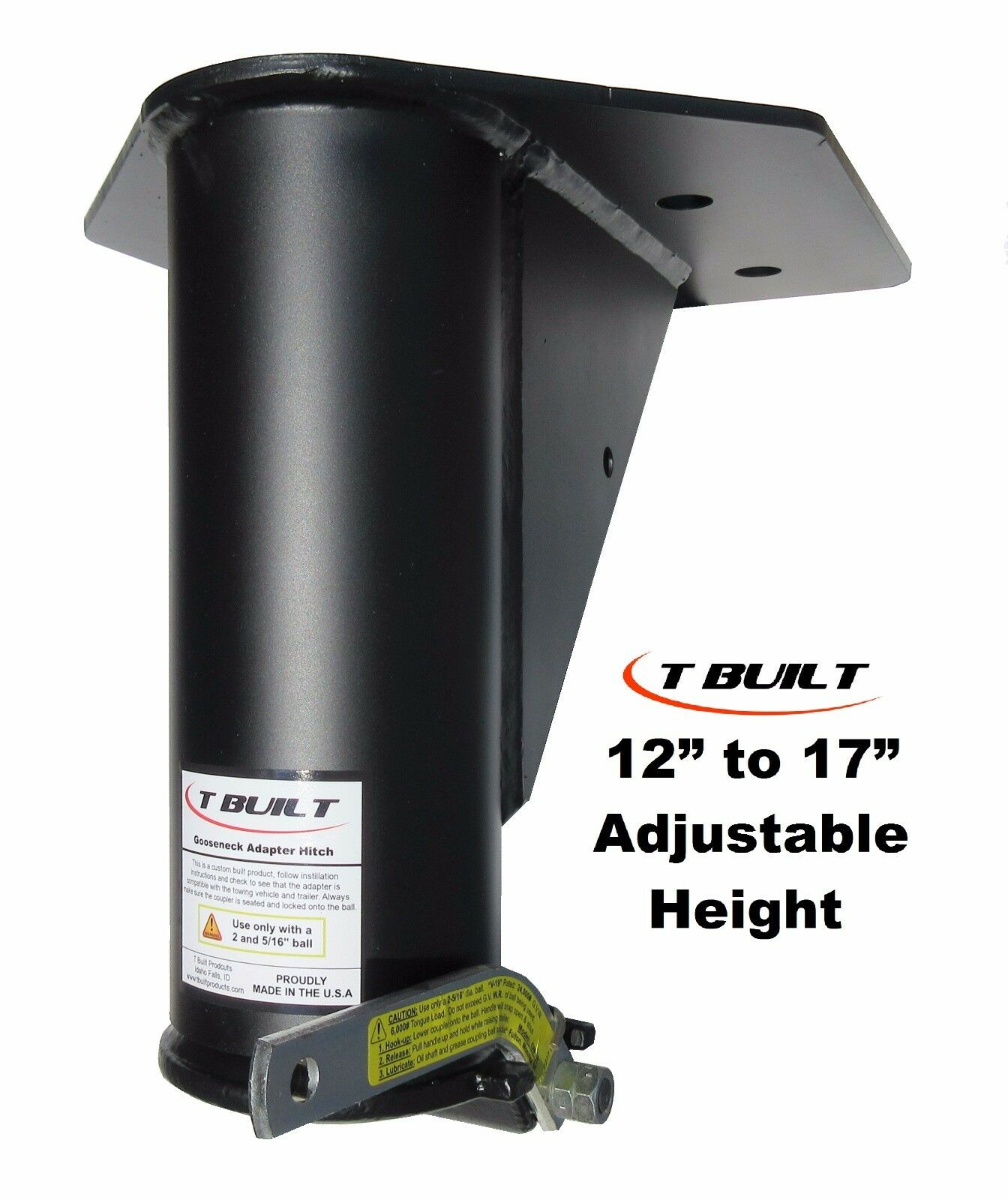 """T Built 12"""" 17"""" Adjustable 5th Wheel RV to Gooseneck Adapter Hitch"""
