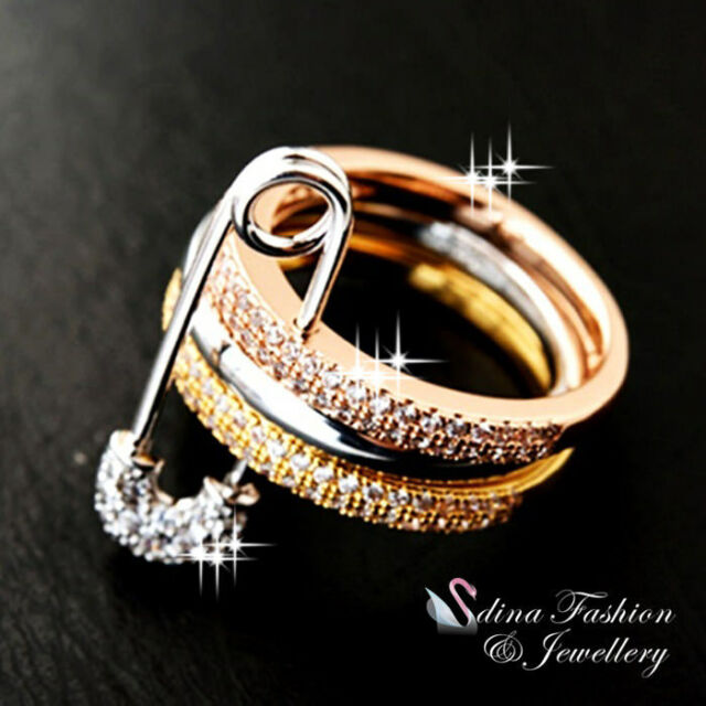 18K White, Yellow & Rose Gold Plated Stylish Safety Pin Diamond Triple Ring Set