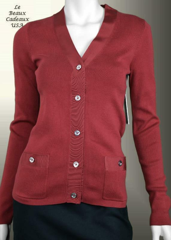 Juicy Couture Women Medium Dark Red Cardigan Sweater Dressy | eBay