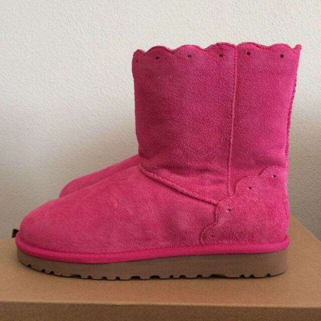 UGG Size 3 Kids Youth Girls Classic Short Fame Boots Diva Pink Sheepskin 1013269