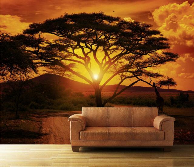 Fototapete Sonnenuntergang Afrika Nr. 1 Größe:400x280cm Tapete Tiere Sonne Baum