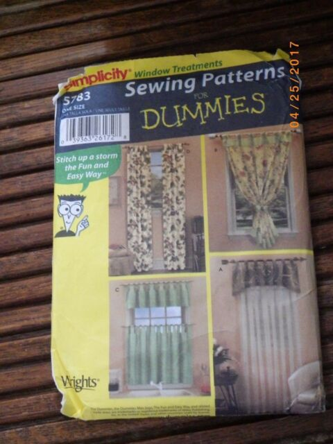 Simplicity Pattern 5783 Sewing For Dummies Window Treatments Ebay