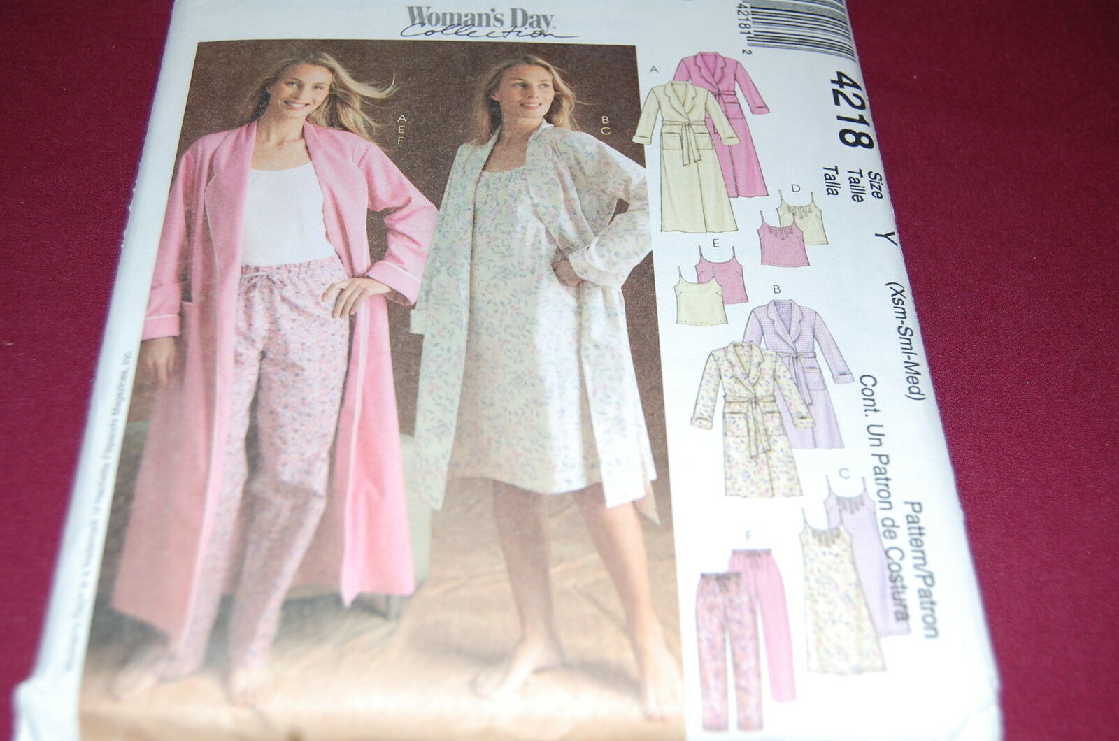Nightgown Pattern Sewing Misses Pajama Pants Robe Cami McCalls 4218 ...