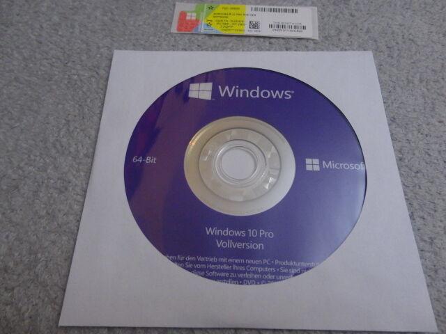 Windows 10 Professional 64Bit CD Vollversion + Lizenz Key Aktivierung FQC-08929