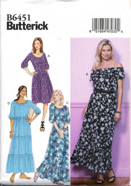 Butterick 6451 Misses 16-26 Boho Maxi Dress off Shoulder Sewing ...