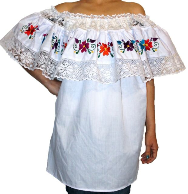 WHITE GYPSY PEASANT MEXICAN EMBROIDERED LACE OFF SHOULDER BLOUSE L-XL