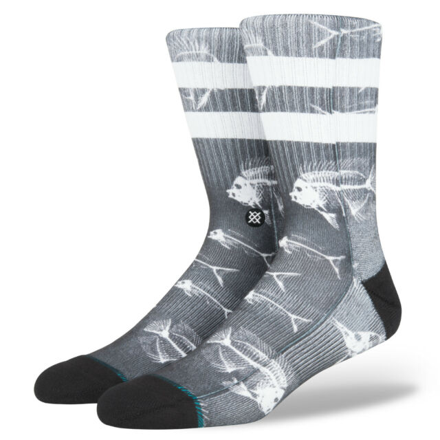 STANCE MENS SOCKS.FISH BONE POLY BLEND BLACK WHITE ARCH SUPPORT.SIZE UK 8.5