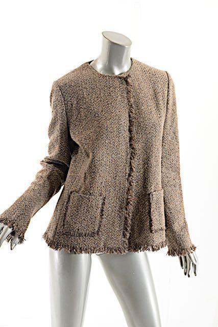 Ralph Lauren Purple Label Taupe Tweed Wool/cashmere Sweater Jacket ...