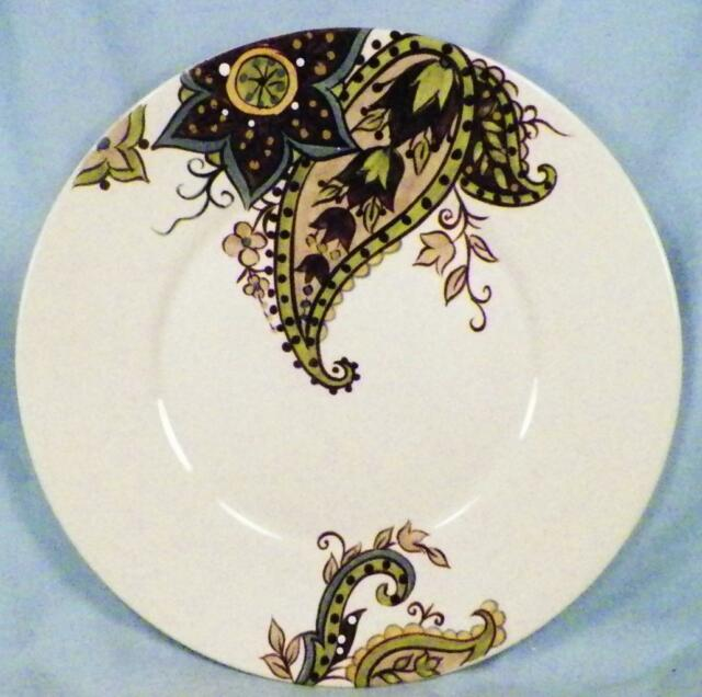 Beautiful Tabletops Gallery Misto Angela Salad Plate Brown Green Paisley Cream  Porcelain
