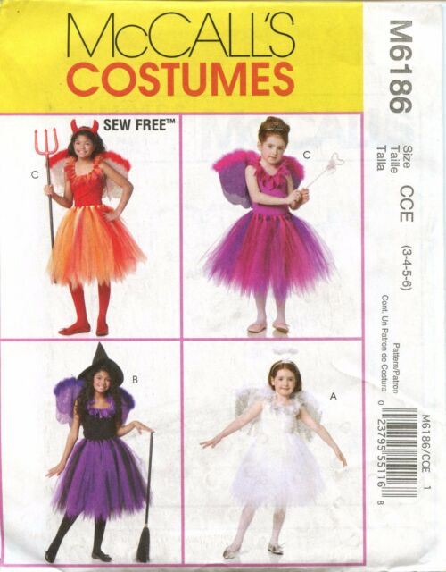 Mccall\'s Costume Pattern M6186 Size Kids CCE 3-6 Angel Fairy Witch ...