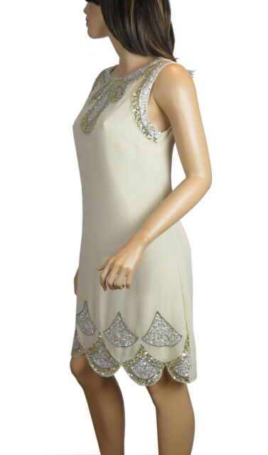 1920s Gatsby Fully Embellished Shift Party Dress From Size 8 To