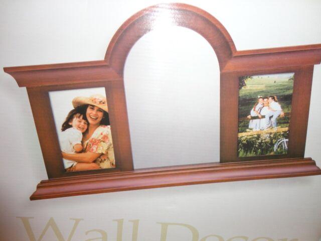 Fetco Wall Decor Dark Walnut Wood Finish Arched Glass Mirror W 2 ...