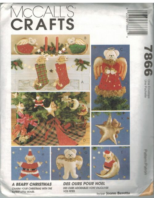 M 7866 A Beary Christmas Sewing Pattern Stocking Angel Ornaments