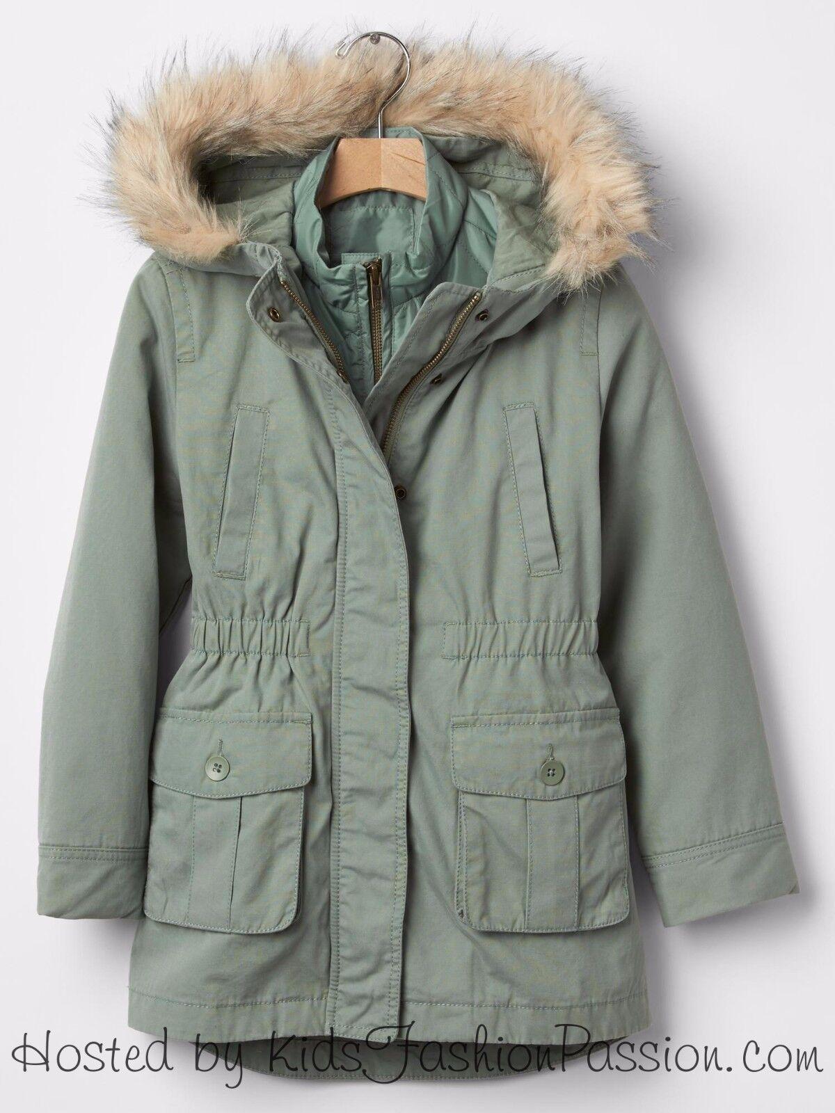 Gap Kids Girls 3-in-1 Faux Fur Green Parka Anorak Coat Jacket XS M ...