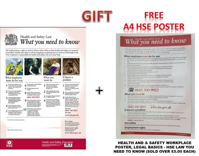 HSE Health and Safety Law Poster Laminated A3 - Version | eBay