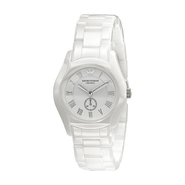 Emporio Armani Uhr AR1405 CERAMICA Keramik Weiß Damen Armbanduhr Quarz NEU