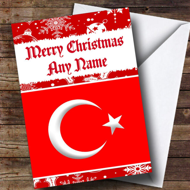 Turkish flag turkey personalised christmas greetings card ebay turkish flag turkey personalised christmas greetings card m4hsunfo