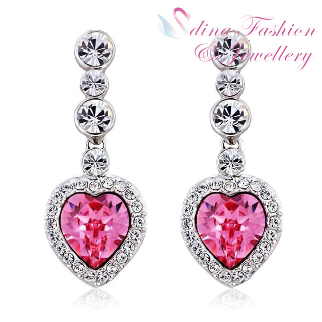 18k White Gold Plated Made With Swarovski Crystal Stunning Pink Heart Earrings