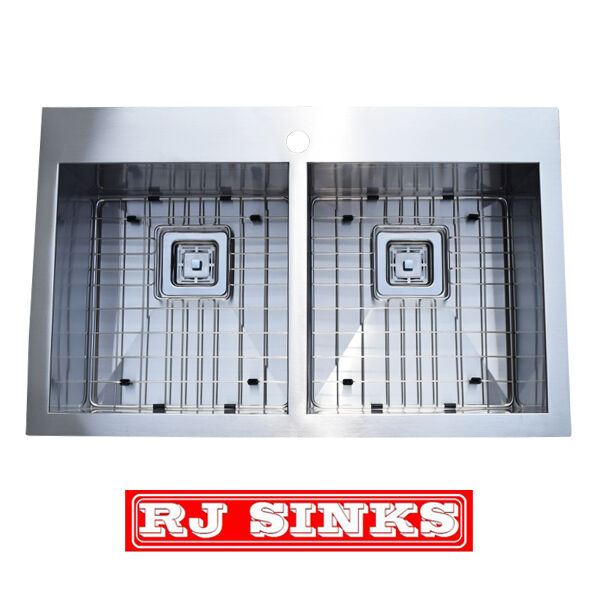 picture 1 of 4     3119 d top mount double bowl 16 gauge stainless steel kitchen sink      rh   ebay com
