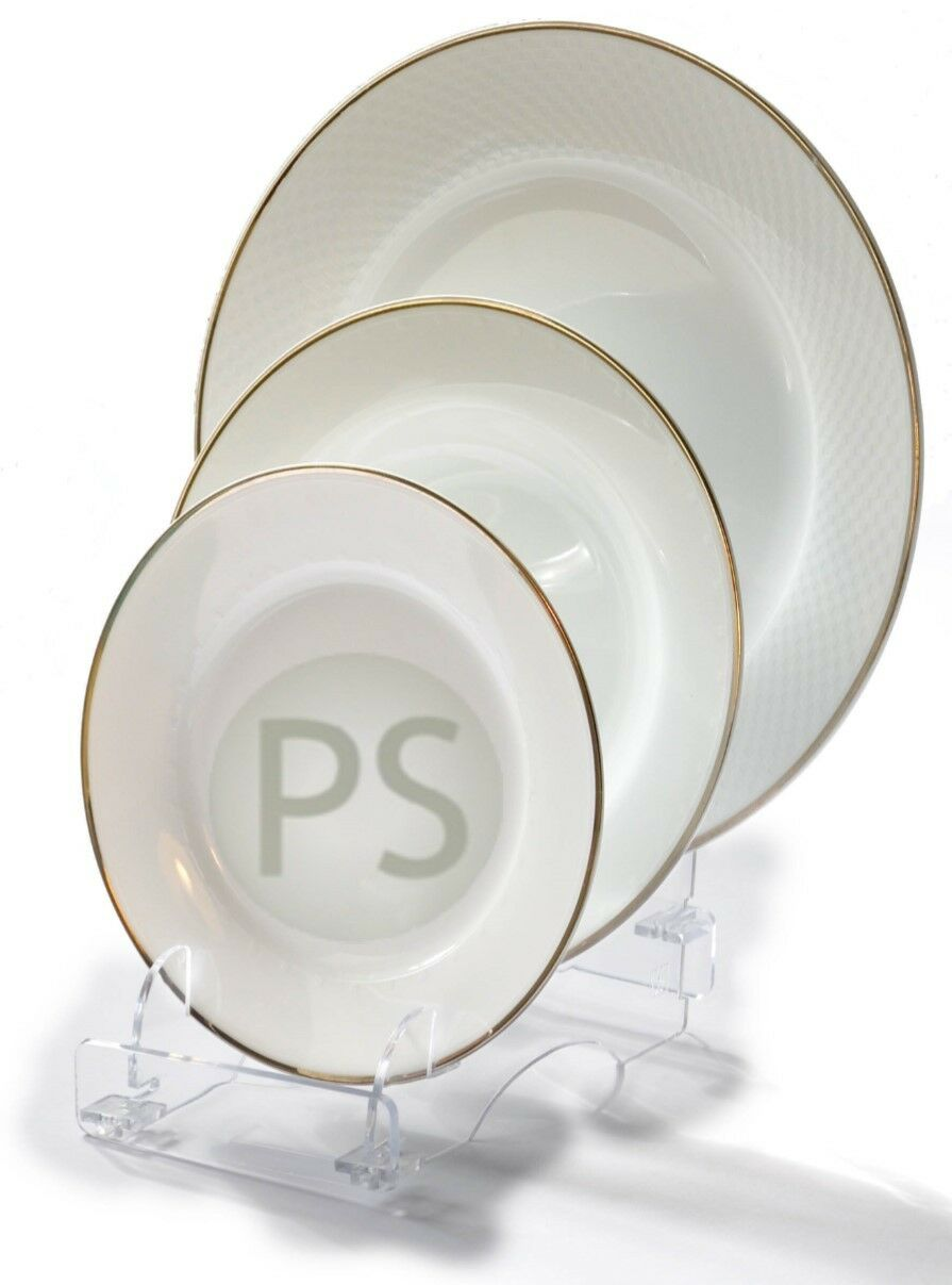 Picture 1 of 2 ...  sc 1 st  eBay & Triple Display Stand Trio 3 Piece Clear Fixed Acyrlic Plate Bowl ...