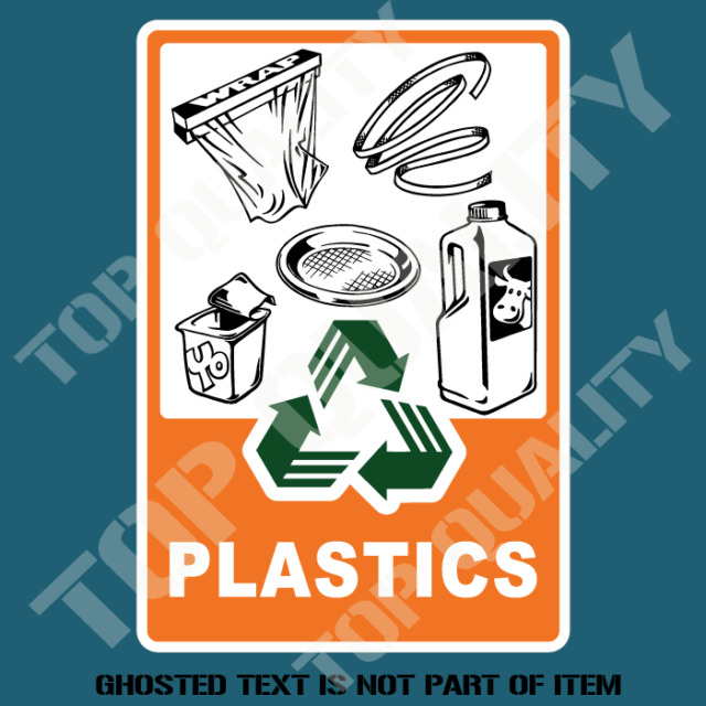 Plastic products recycle decal sticker garbage bin ohs safety decals stickers
