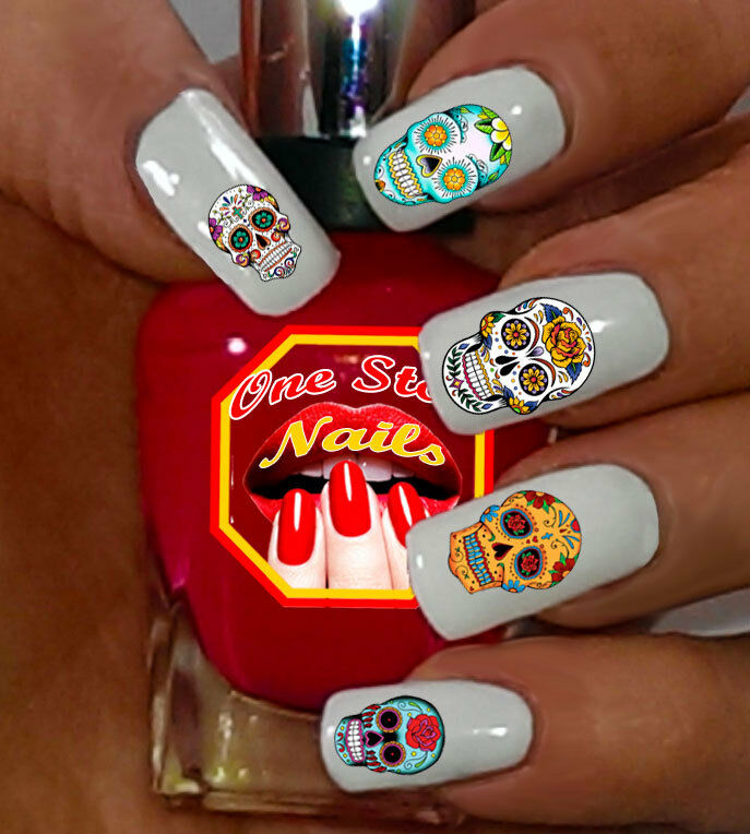 63 sugar skull nail art stickers transfers decals tattoo dia de picture 1 of 3 prinsesfo Gallery