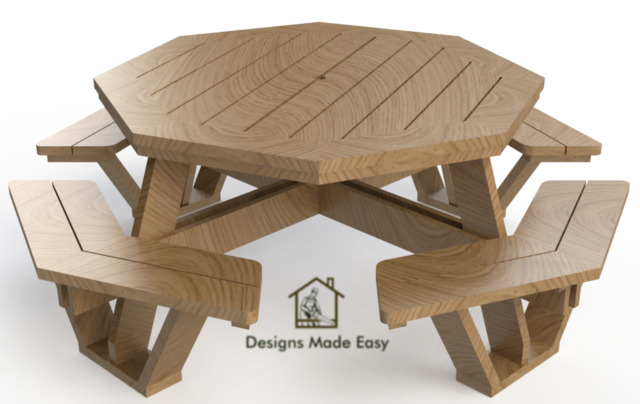 Easy DIY Octagon Picnic Table   Design Plans Instructions For Woodworking 06